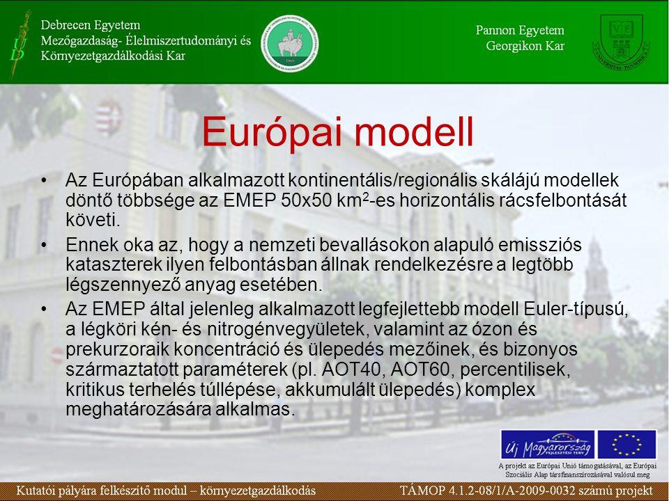 Európai modell Az Európában alkalmazott kontinentális/regionális skálájú modellek döntő többsége az EMEP 50x50 km 2 -es horizontális rácsfelbontását követi.