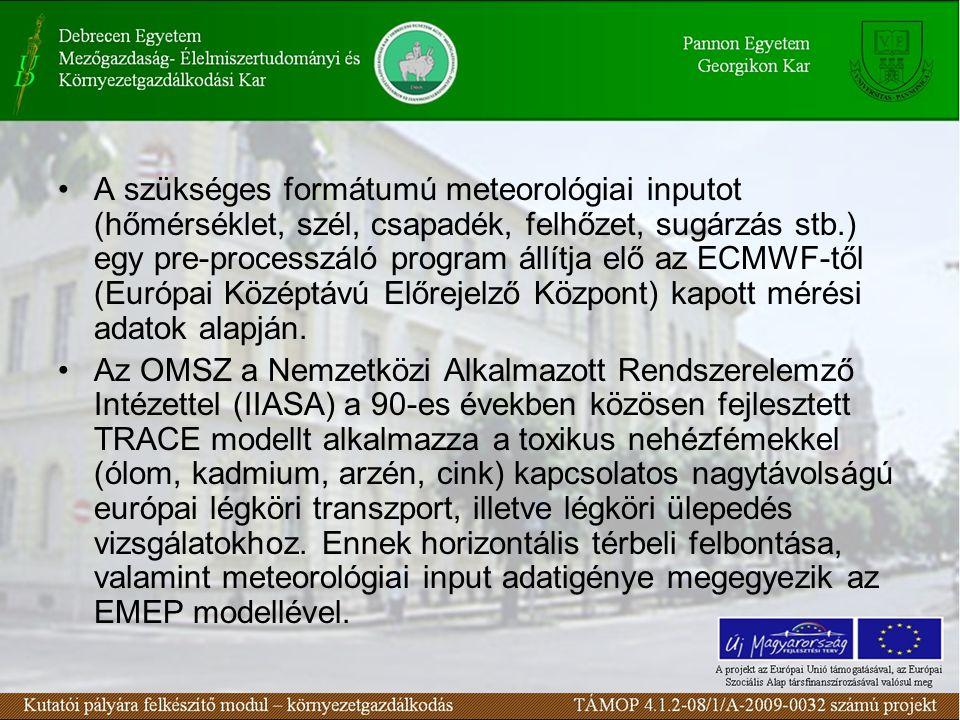 A szükséges formátumú meteorológiai inputot (hőmérséklet, szél, csapadék, felhőzet, sugárzás stb.) egy pre-processzáló program állítja elő az ECMWF-től (Európai Középtávú Előrejelző Központ) kapott mérési adatok alapján.