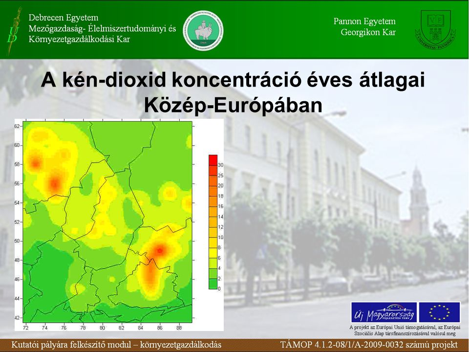 A kén-dioxid koncentráció éves átlagai Közép-Európában