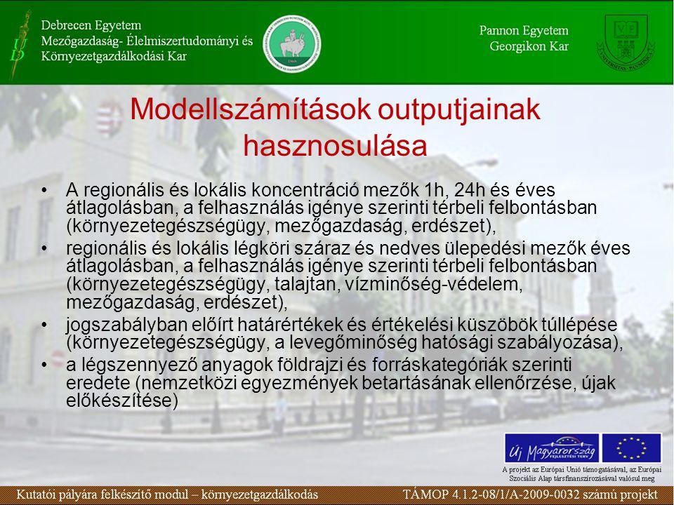 Modellszámítások outputjainak hasznosulása A regionális és lokális koncentráció mezők 1h, 24h és éves átlagolásban, a felhasználás igénye szerinti térbeli felbontásban (környezetegészségügy, mezőgazdaság, erdészet), regionális és lokális légköri száraz és nedves ülepedési mezők éves átlagolásban, a felhasználás igénye szerinti térbeli felbontásban (környezetegészségügy, talajtan, vízminőség-védelem, mezőgazdaság, erdészet), jogszabályban előírt határértékek és értékelési küszöbök túllépése (környezetegészségügy, a levegőminőség hatósági szabályozása), a légszennyező anyagok földrajzi és forráskategóriák szerinti eredete (nemzetközi egyezmények betartásának ellenőrzése, újak előkészítése)