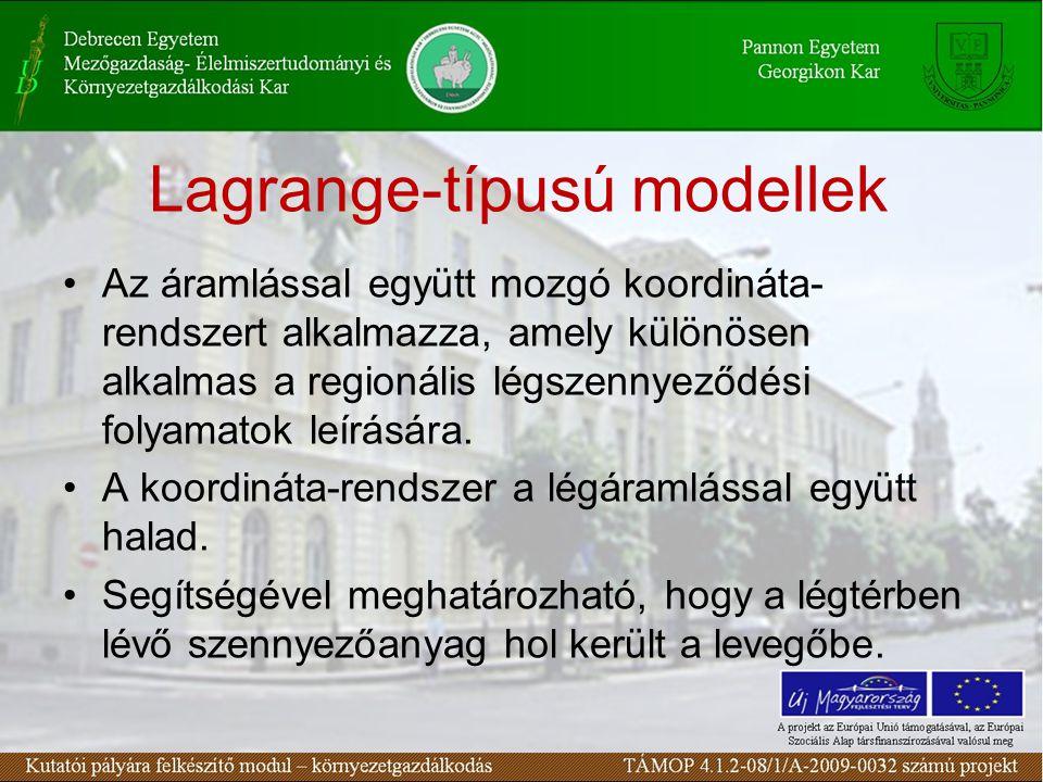 Lagrange-típusú modellek Az áramlással együtt mozgó koordináta- rendszert alkalmazza, amely különösen alkalmas a regionális légszennyeződési folyamatok leírására.