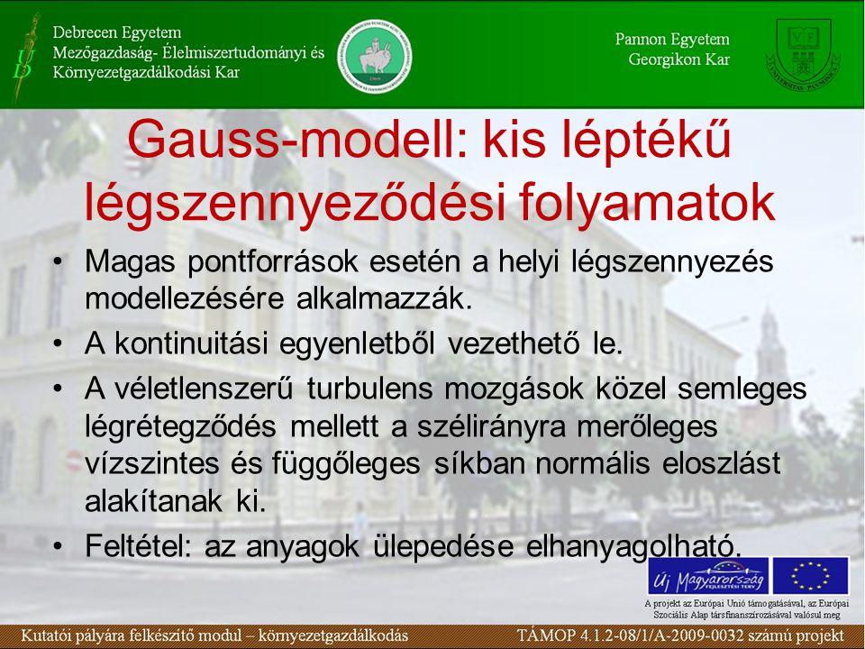Gauss-modell: kis léptékű légszennyeződési folyamatok Magas pontforrások esetén a helyi légszennyezés modellezésére alkalmazzák.