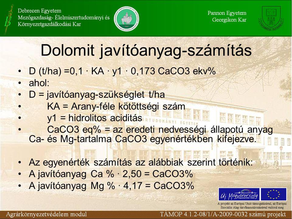 Dolomit javítóanyag-számítás D (t/ha) =0,1 ∙ KA ∙ y1 ∙ 0,173 CaCO3 ekv% ahol: D = javítóanyag-szükséglet t/ha KA = Arany-féle kötöttségi szám y1 = hidrolitos aciditás CaCO3 eq% = az eredeti nedvességi állapotú anyag Ca- és Mg-tartalma CaCO3 egyenértékben kifejezve.