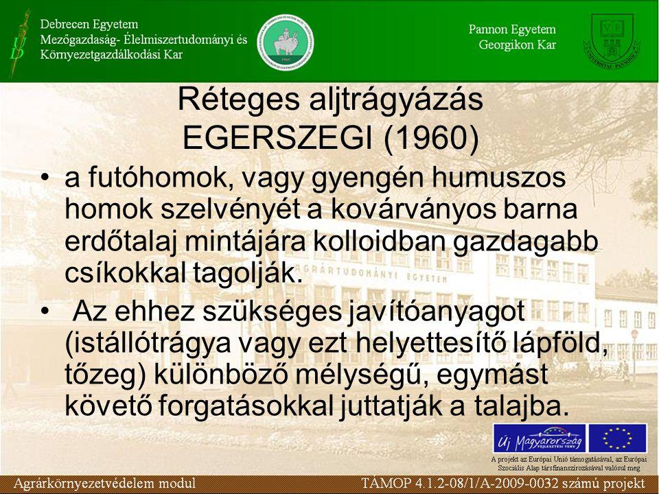 Réteges aljtrágyázás EGERSZEGI (1960) a futóhomok, vagy gyengén humuszos homok szelvényét a kovárványos barna erdőtalaj mintájára kolloidban gazdagabb csíkokkal tagolják.