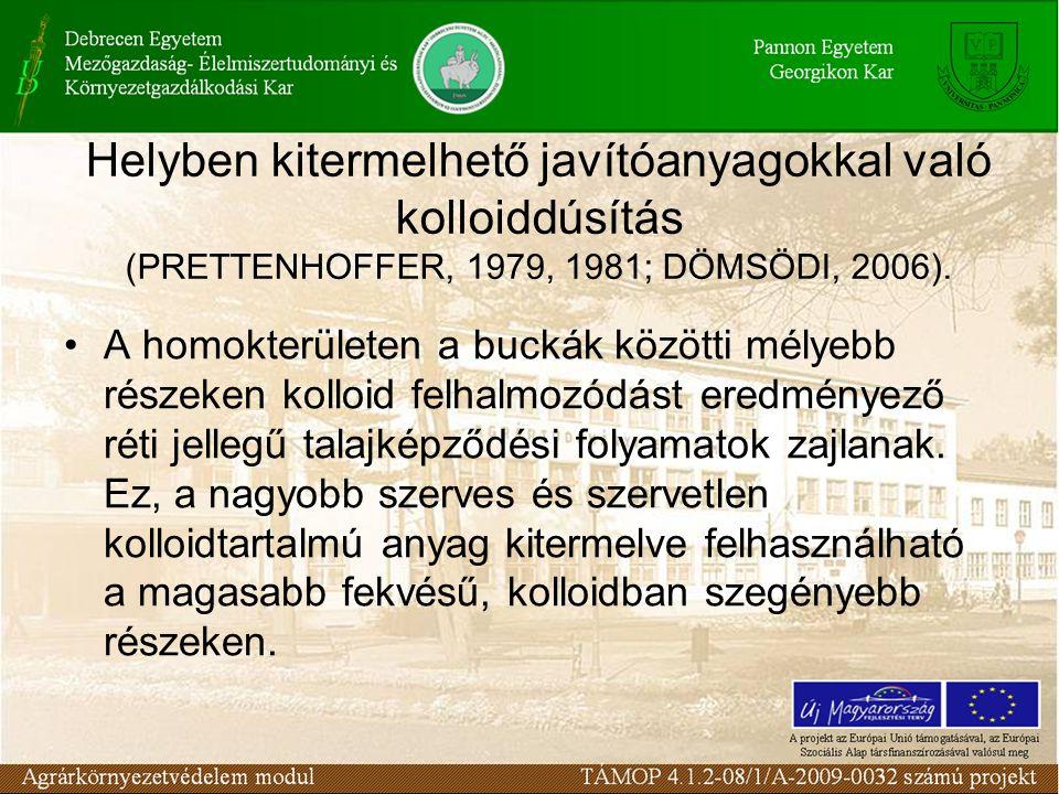 Helyben kitermelhető javítóanyagokkal való kolloiddúsítás (PRETTENHOFFER, 1979, 1981; DÖMSÖDI, 2006).