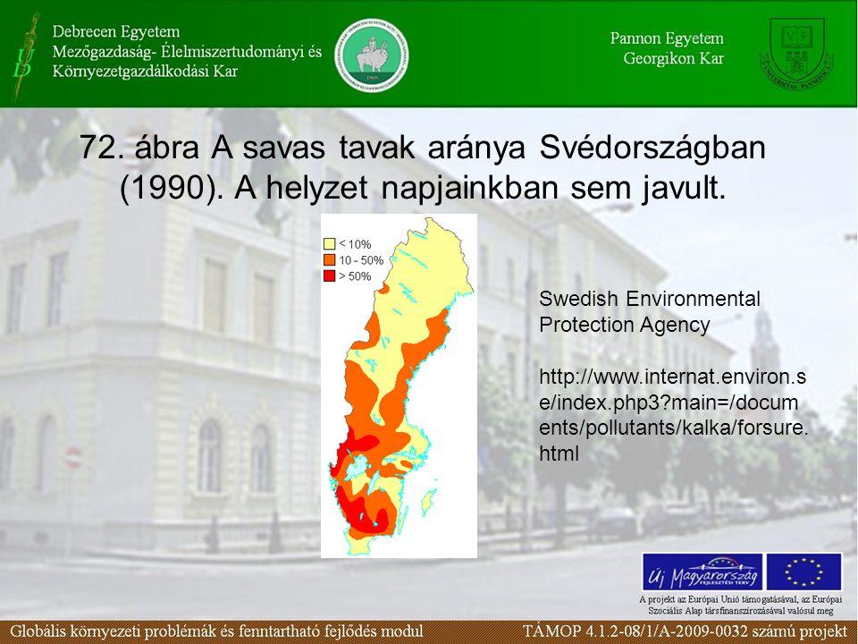 72. ábra A savas tavak aránya Svédországban (1990).