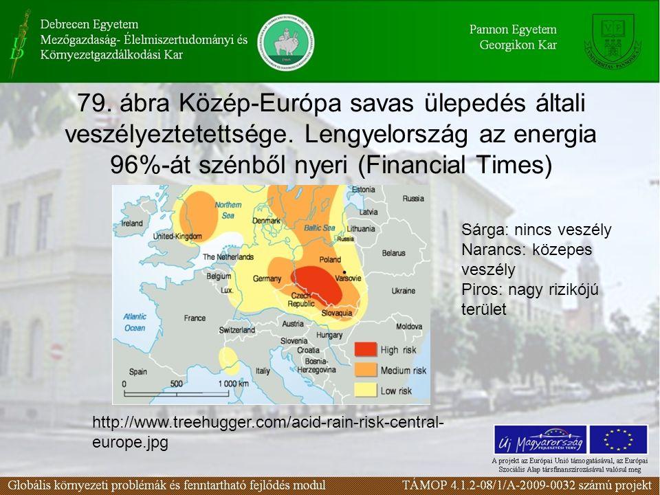79. ábra Közép-Európa savas ülepedés általi veszélyeztetettsége.