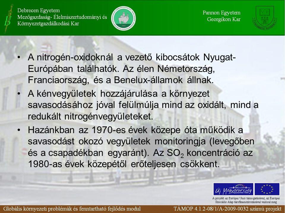 A nitrogén-oxidoknál a vezető kibocsátok Nyugat- Európában találhatók.