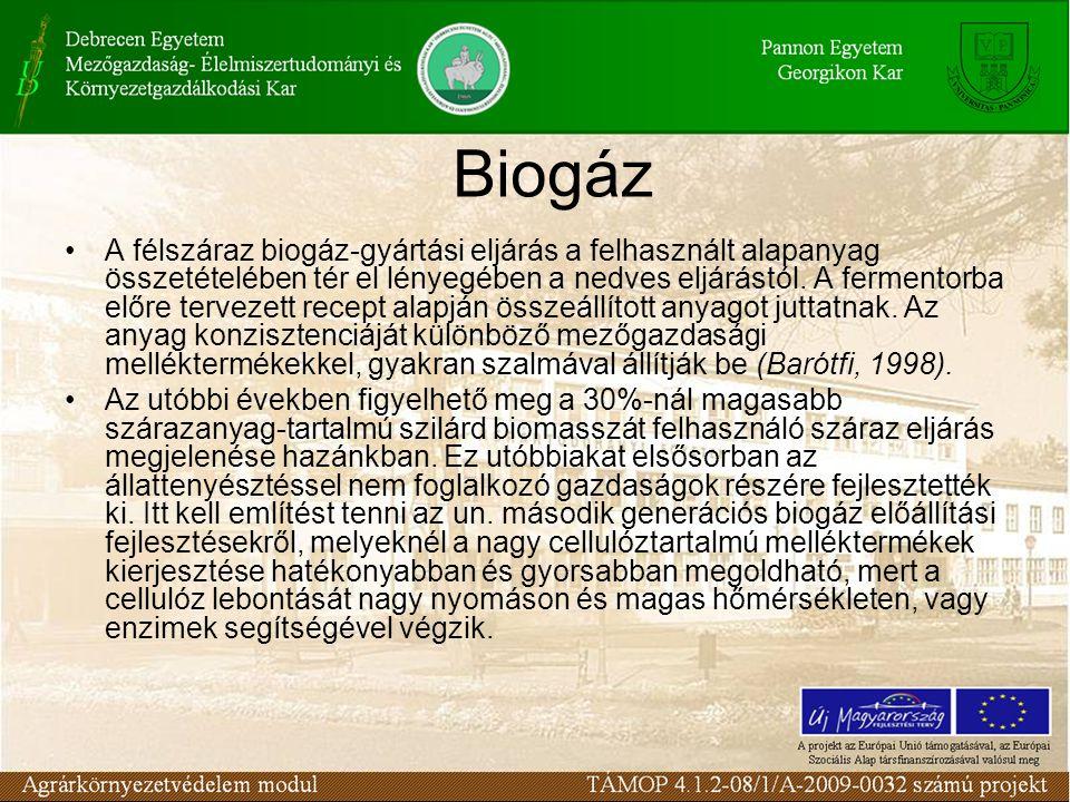 Biogáz A félszáraz biogáz-gyártási eljárás a felhasznált alapanyag összetételében tér el lényegében a nedves eljárástól. A fermentorba előre tervezett
