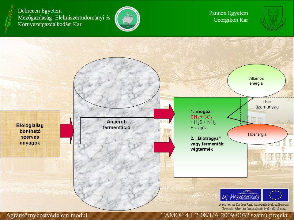 Biológiailag bontható szerves anyagok 1.Biogáz: CH 4 + CO 2 + H 2 S + NH 3 + vízgőz 2.