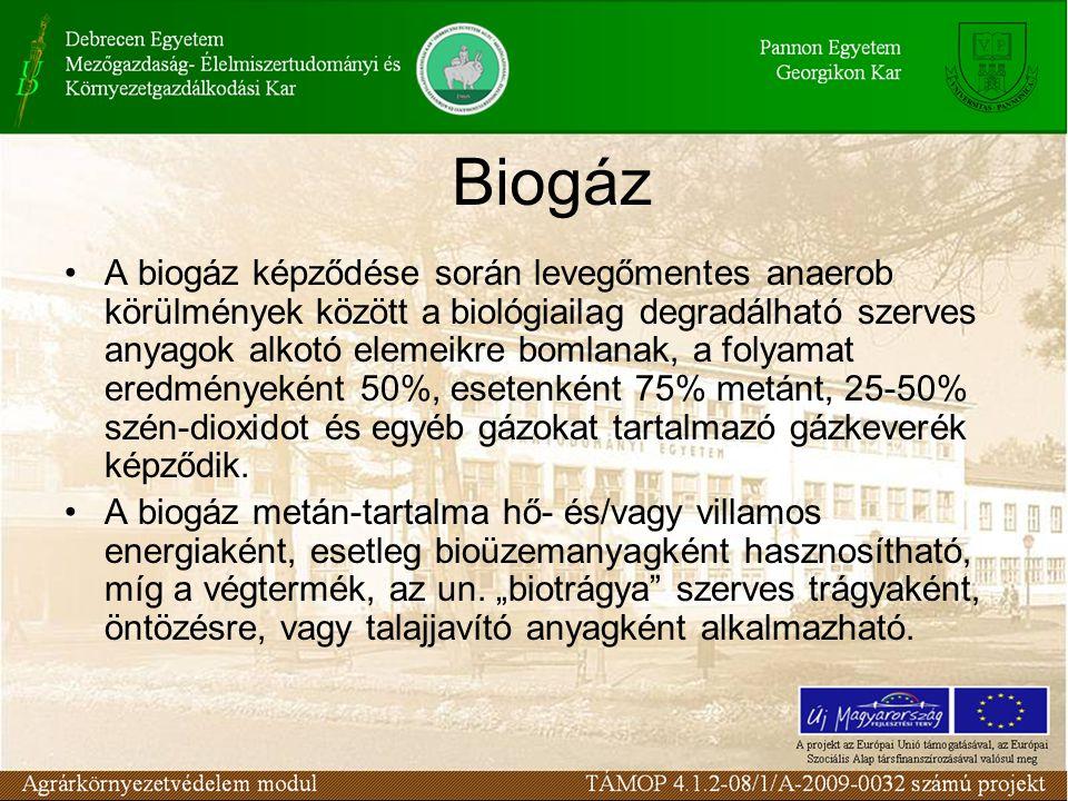 Biogáz A biogáz képződése során levegőmentes anaerob körülmények között a biológiailag degradálható szerves anyagok alkotó elemeikre bomlanak, a folyamat eredményeként 50%, esetenként 75% metánt, 25-50% szén-dioxidot és egyéb gázokat tartalmazó gázkeverék képződik.