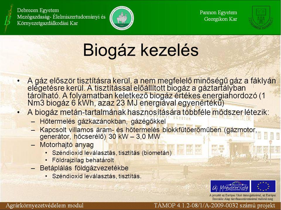Biogáz kezelés A gáz először tisztításra kerül, a nem megfelelő minőségű gáz a fáklyán elégetésre kerül. A tisztítással előállított biogáz a gáztartál