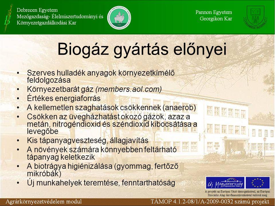 Biogáz gyártás előnyei Szerves hulladék anyagok környezetkímélő feldolgozása Környezetbarát gáz (members.aol.com) Értékes energiaforrás A kellemetlen