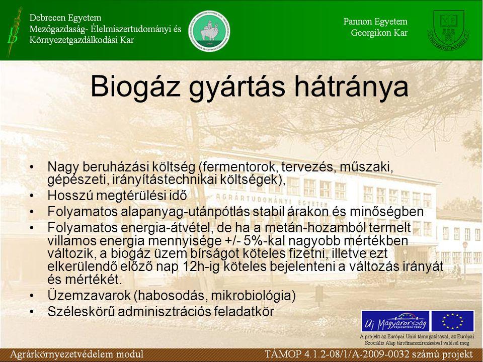 Biogáz gyártás hátránya Nagy beruházási költség (fermentorok, tervezés, műszaki, gépészeti, irányítástechnikai költségek), Hosszú megtérülési idő Folyamatos alapanyag-utánpótlás stabil árakon és minőségben Folyamatos energia-átvétel, de ha a metán-hozamból termelt villamos energia mennyisége +/- 5%-kal nagyobb mértékben változik, a biogáz üzem bírságot köteles fizetni, illetve ezt elkerülendő előző nap 12h-ig köteles bejelenteni a változás irányát és mértékét.