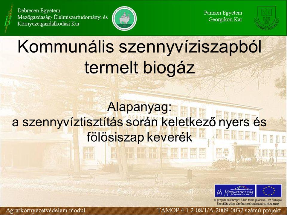 Kommunális szennyvíziszapból termelt biogáz Alapanyag: a szennyvíztisztítás során keletkező nyers és fölösiszap keverék