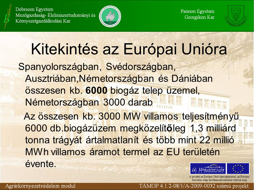 Kitekintés az Európai Unióra Spanyolországban, Svédországban, Ausztriában,Németországban és Dániában összesen kb. 6000 biogáz telep üzemel, Németorszá