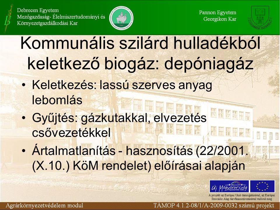 Kommunális szilárd hulladékból keletkező biogáz: depóniagáz Keletkezés: lassú szerves anyag lebomlás Gyűjtés: gázkutakkal, elvezetés csővezetékkel Ártalmatlanítás - hasznosítás (22/2001.