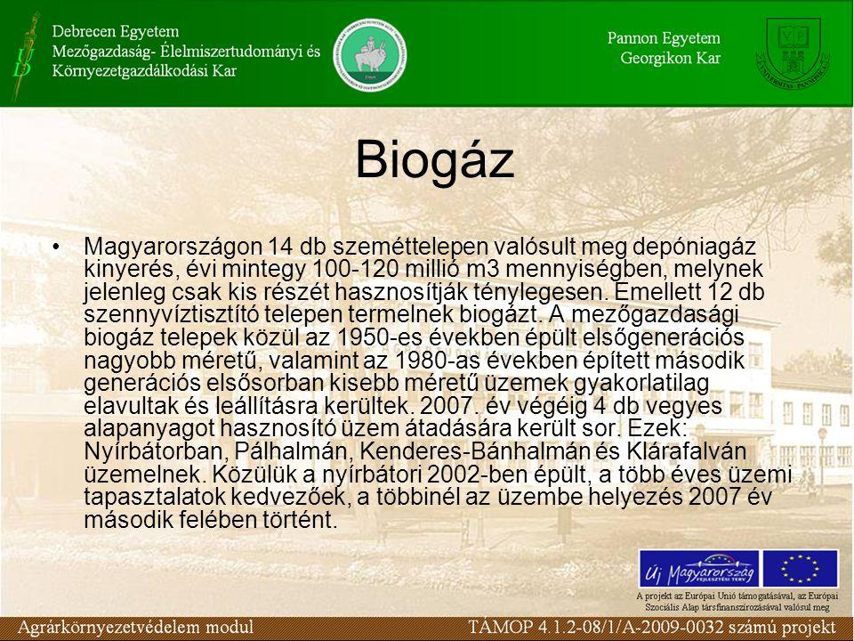 Biogáz Magyarországon 14 db szeméttelepen valósult meg depóniagáz kinyerés, évi mintegy 100-120 millió m3 mennyiségben, melynek jelenleg csak kis rész