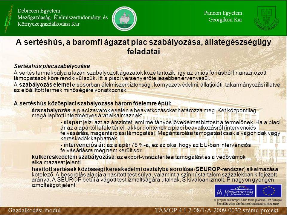 A sertéshús, a baromfi ágazat piac szabályozása, állategészségügy feladatai Sertéshús piacszabályozása A sertés termékpálya a lazán szabályozott ágazatok közé tartozik, így az uniós forrásból finanszírozott támogatások köre rendkívül szűk.