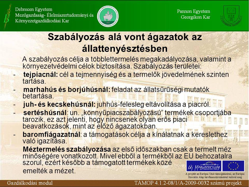 Szabályozás alá vont ágazatok az állattenyésztésben A szabályozás célja a többlettermelés megakadályozása, valamint a környezetvédelmi célok biztosítá