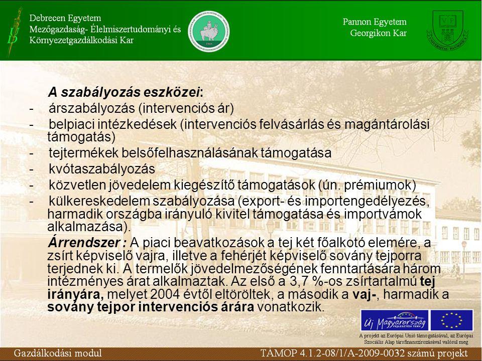 A szabályozás eszközei: - árszabályozás (intervenciós ár) - belpiaci intézkedések (intervenciós felvásárlás és magántárolási támogatás) - tejtermékek