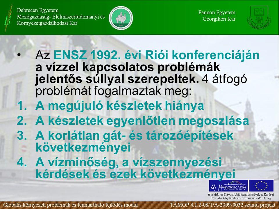 Az ENSZ 1992. évi Riói konferenciáján a vízzel kapcsolatos problémák jelentős súllyal szerepeltek. 4 átfogó problémát fogalmaztak meg: 1.A megújuló ké