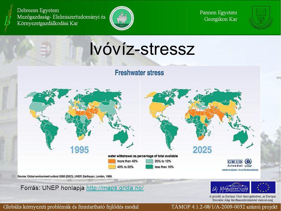 Ivóvíz-stressz Forrás: UNEP honlapja http://maps.grida.no/http://maps.grida.no/