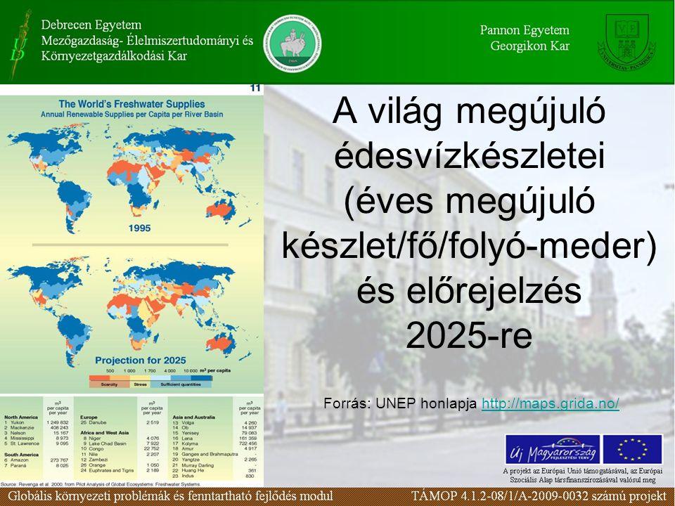 A világ megújuló édesvízkészletei (éves megújuló készlet/fő/folyó-meder) és előrejelzés 2025-re Forrás: UNEP honlapja http://maps.grida.no/http://maps