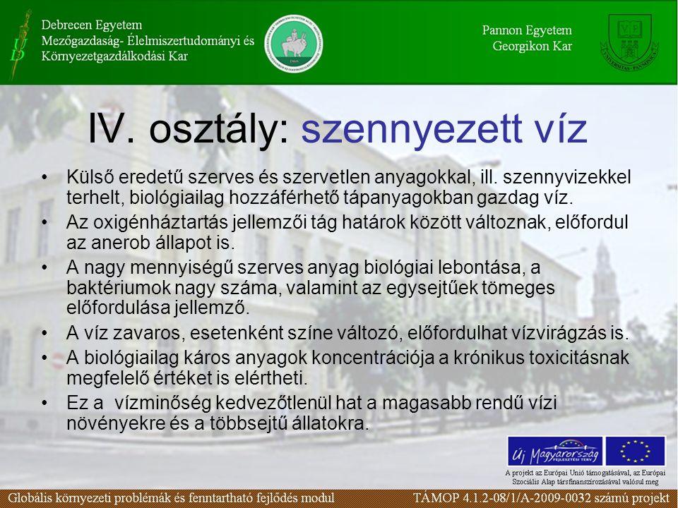 IV. osztály: szennyezett víz Külső eredetű szerves és szervetlen anyagokkal, ill. szennyvizekkel terhelt, biológiailag hozzáférhető tápanyagokban gazd