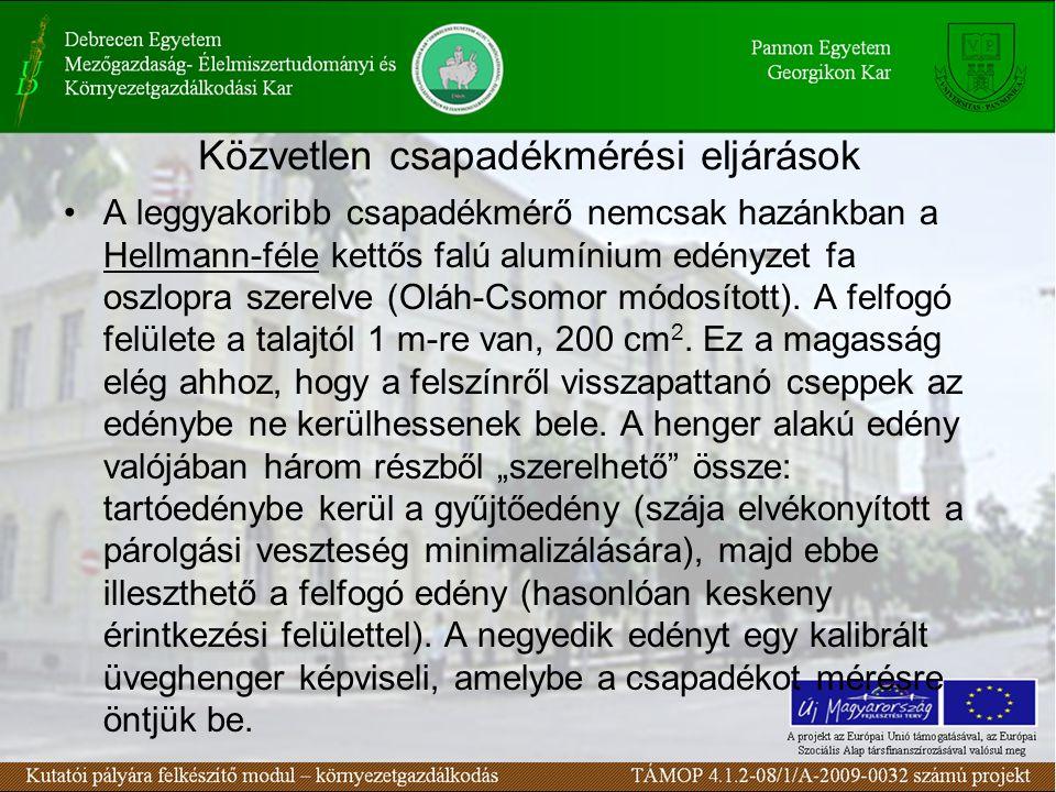 Közvetlen csapadékmérési eljárások A leggyakoribb csapadékmérő nemcsak hazánkban a Hellmann-féle kettős falú alumínium edényzet fa oszlopra szerelve (