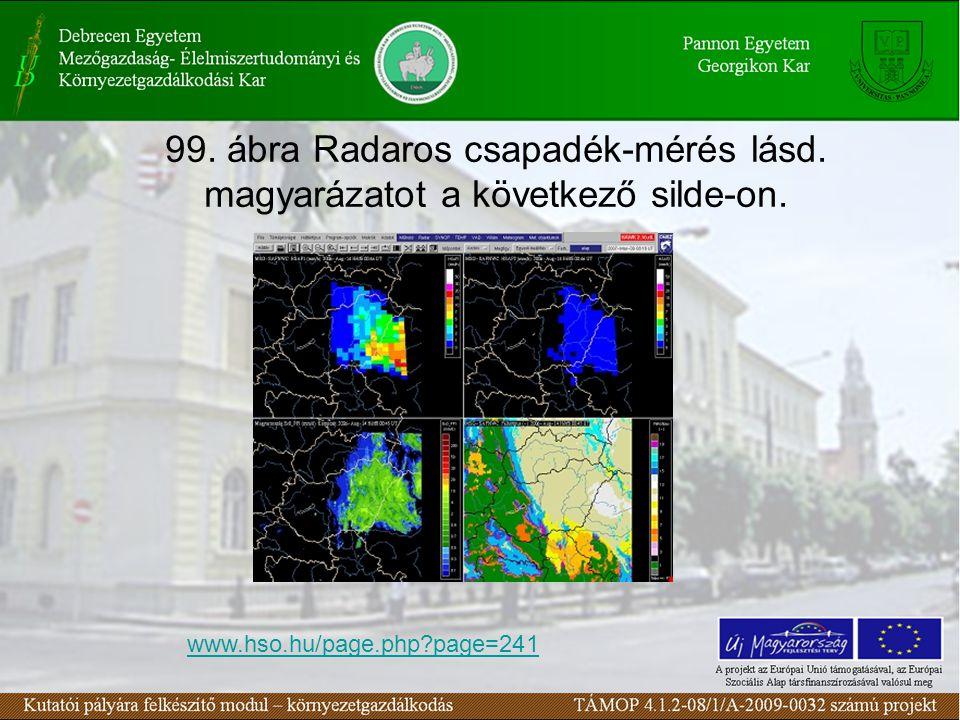 99. ábra Radaros csapadék-mérés lásd. magyarázatot a következő silde-on. www.hso.hu/page.php?page=241