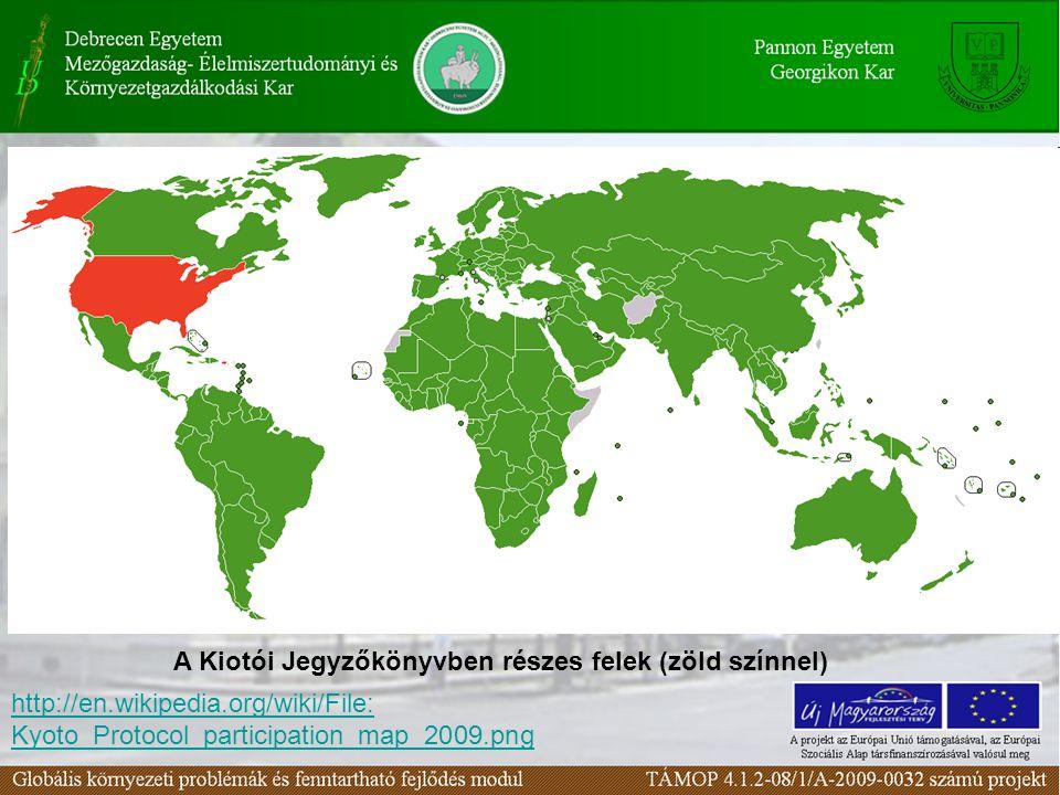 http://en.wikipedia.org/wiki/File: Kyoto_Protocol_participation_map_2009.png A Kiotói Jegyzőkönyvben részes felek (zöld színnel)