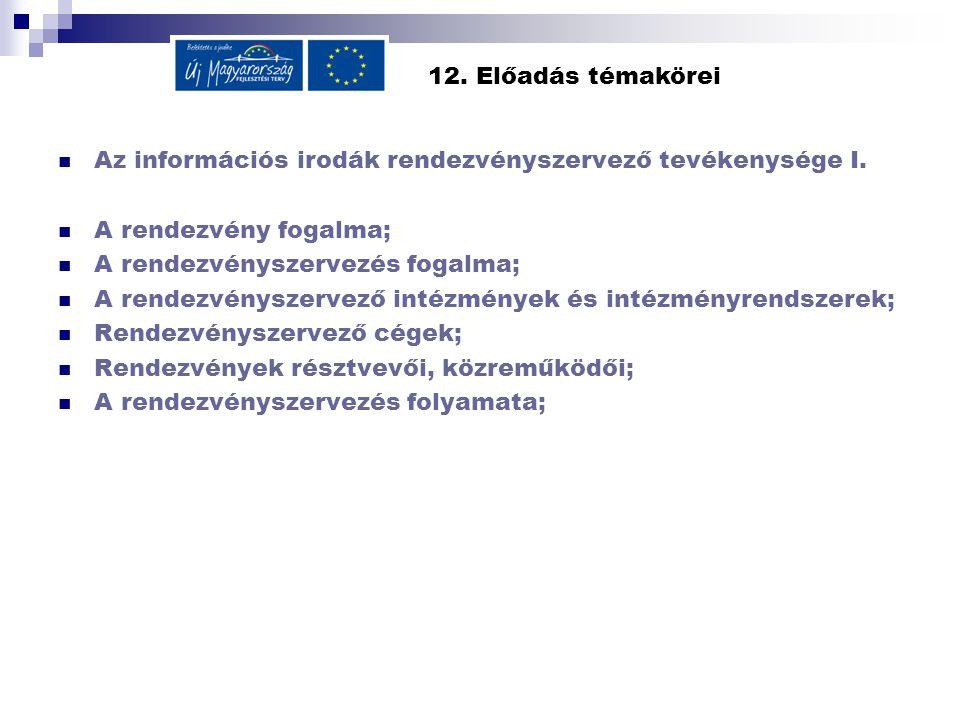 12. Előadás témakörei Az információs irodák rendezvényszervező tevékenysége I.