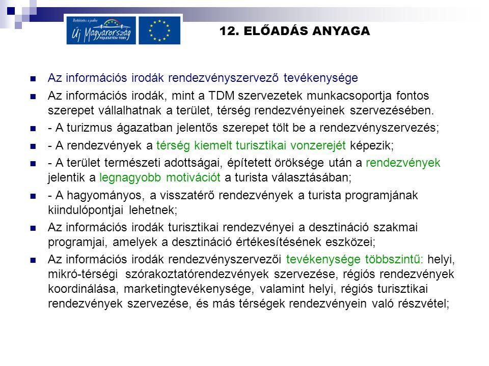 12. ELŐADÁS ANYAGA Az információs irodák rendezvényszervező tevékenysége Az információs irodák, mint a TDM szervezetek munkacsoportja fontos szerepet