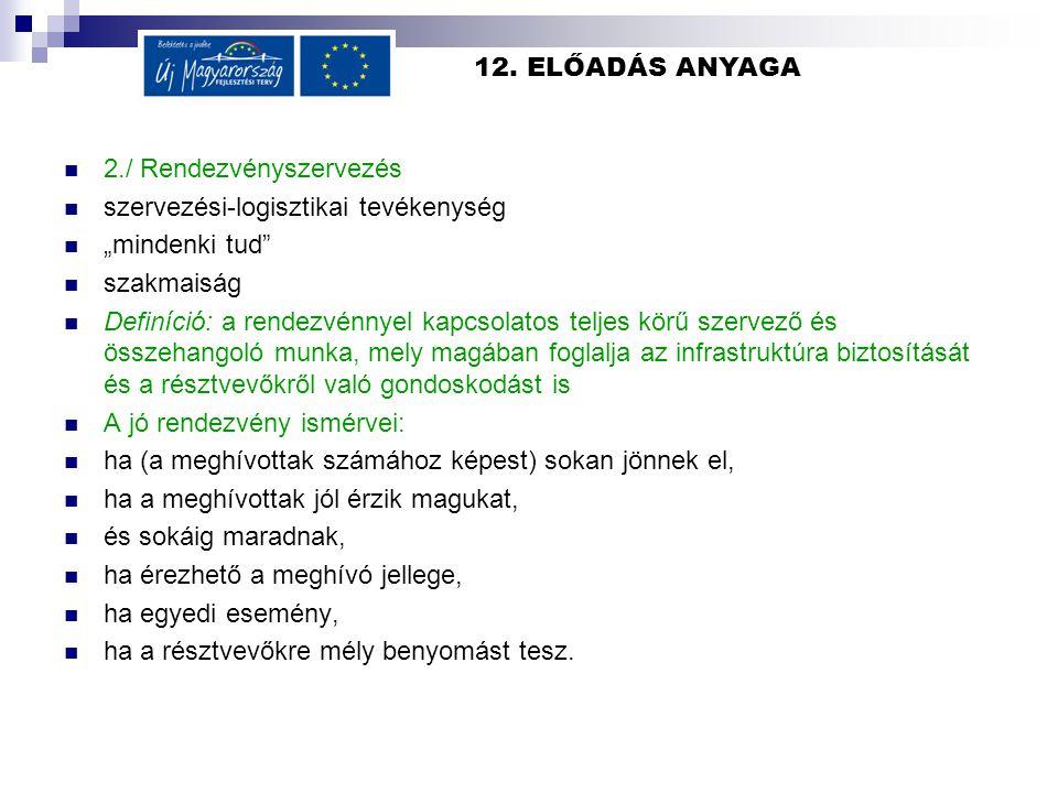 """12. ELŐADÁS ANYAGA 2./ Rendezvényszervezés szervezési-logisztikai tevékenység """"mindenki tud"""" szakmaiság Definíció: a rendezvénnyel kapcsolatos teljes"""