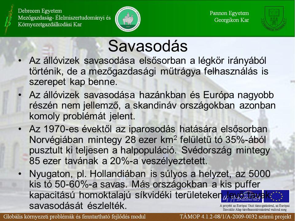 Savasodás Az állóvizek savasodása elsősorban a légkör irányából történik, de a mezőgazdasági műtrágya felhasználás is szerepet kap benne.
