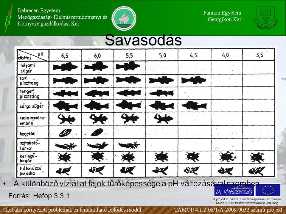 Savasodás A különböző víziállat fajok tűrőképessége a pH változásával szemben Forrás: Hefop 3.3.1.