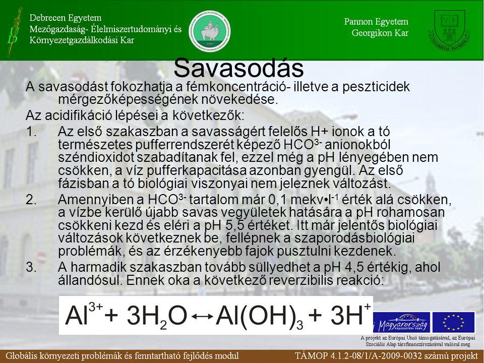 Savasodás A savasodást fokozhatja a fémkoncentráció- illetve a peszticidek mérgezőképességének növekedése. Az acidifikáció lépései a következők: 1.Az