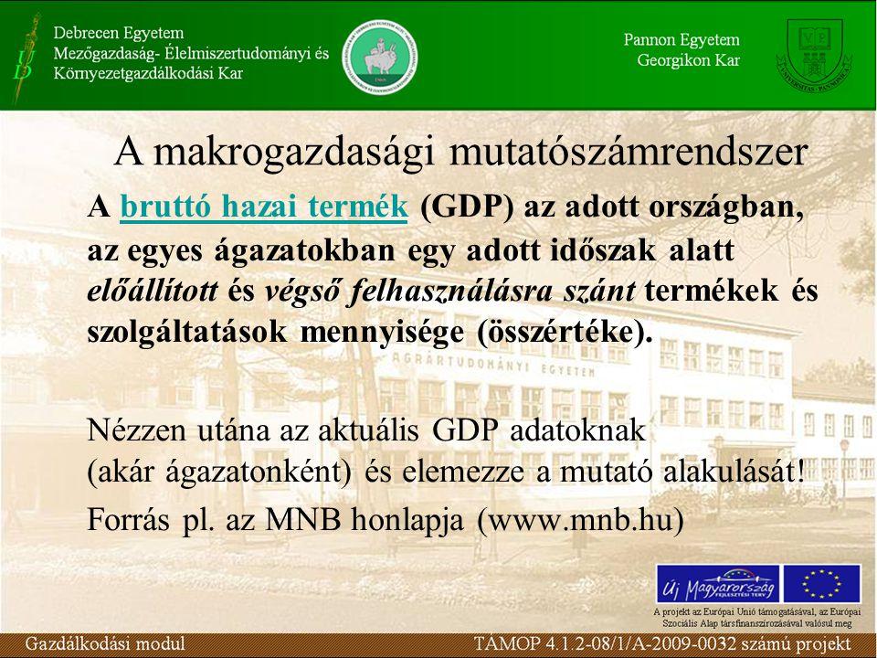 A bruttó hazai termék (GDP) az adott országban, az egyes ágazatokban egy adott időszak alatt előállított és végső felhasználásra szánt termékek és szolgáltatások mennyisége (összértéke).