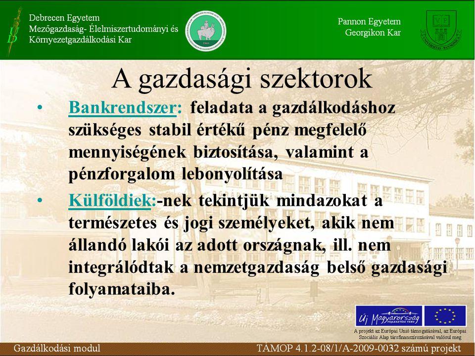 Bankrendszer: feladata a gazdálkodáshoz szükséges stabil értékű pénz megfelelő mennyiségének biztosítása, valamint a pénzforgalom lebonyolítása Külföldiek:-nek tekintjük mindazokat a természetes és jogi személyeket, akik nem állandó lakói az adott országnak, ill.