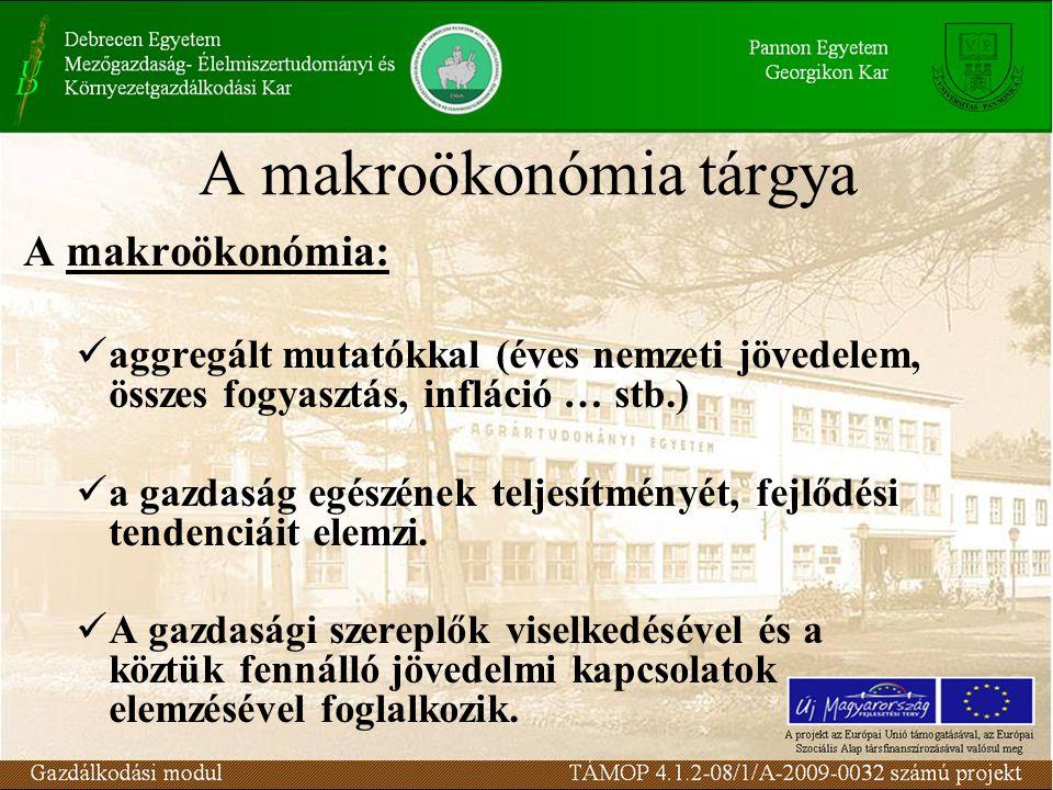 A makroökonómia tárgya A makroökonómia: aggregált mutatókkal (éves nemzeti jövedelem, összes fogyasztás, infláció … stb.) a gazdaság egészének teljesítményét, fejlődési tendenciáit elemzi.