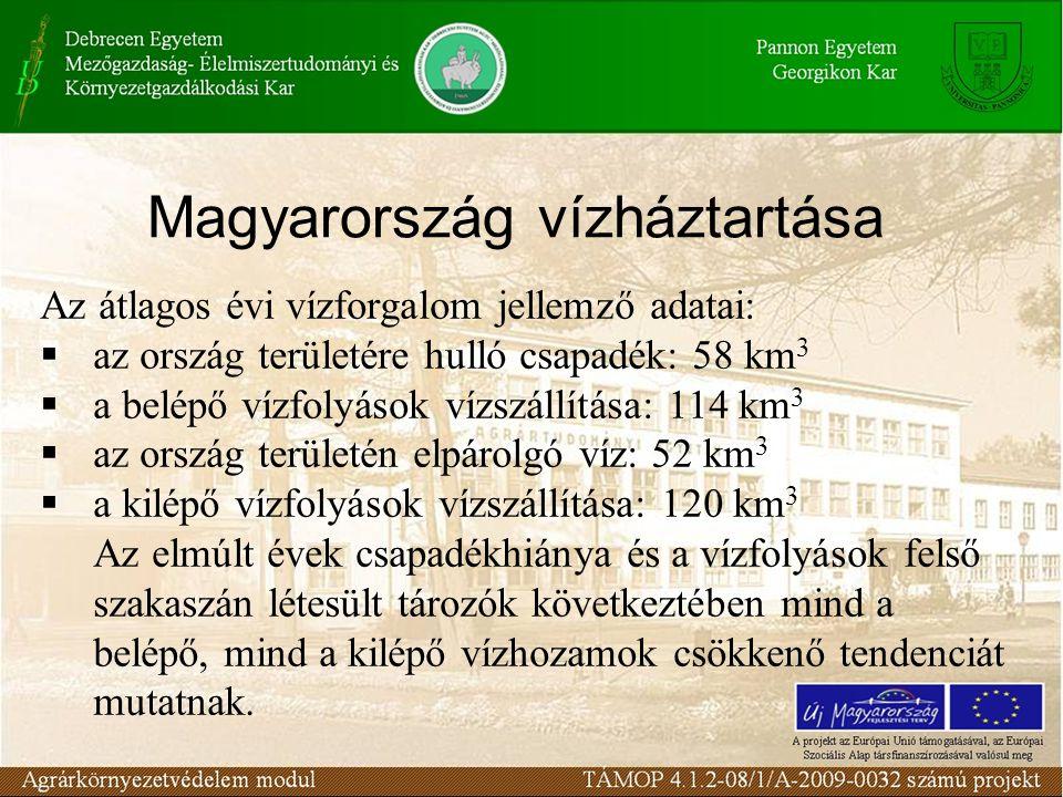 Magyarország vízháztartása Az átlagos évi vízforgalom jellemző adatai:  az ország területére hulló csapadék: 58 km 3  a belépő vízfolyások vízszállítása: 114 km 3  az ország területén elpárolgó víz: 52 km 3  a kilépő vízfolyások vízszállítása: 120 km 3 Az elmúlt évek csapadékhiánya és a vízfolyások felső szakaszán létesült tározók következtében mind a belépő, mind a kilépő vízhozamok csökkenő tendenciát mutatnak.