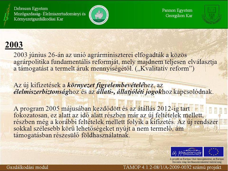 2003 2003 június 26-án az unió agrárminiszterei elfogadták a közös agrárpolitika fundamentális reformját, mely majdnem teljesen elválasztja a támogatást a termelt áruk mennyiségétől.