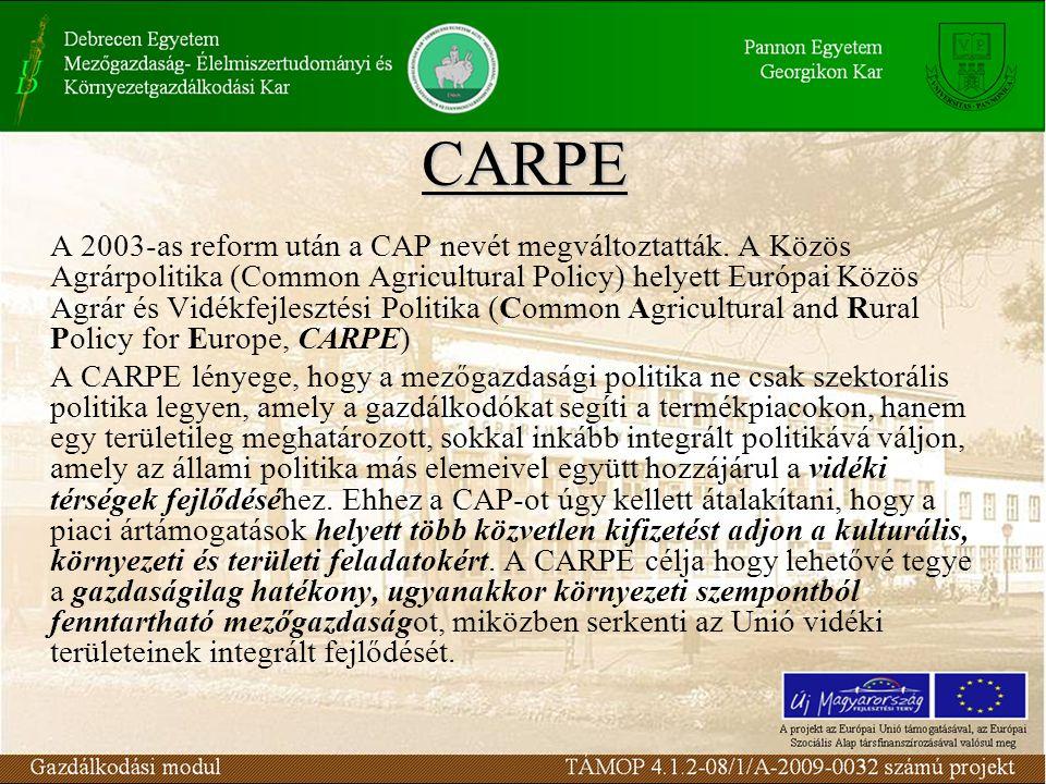 CARPE A 2003-as reform után a CAP nevét megváltoztatták.