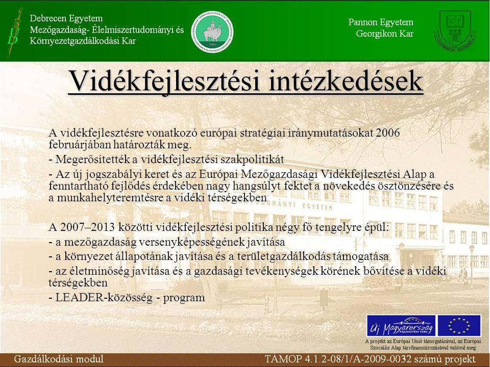 Vidékfejlesztési intézkedések A vidékfejlesztésre vonatkozó európai stratégiai iránymutatásokat 2006 februárjában határozták meg.