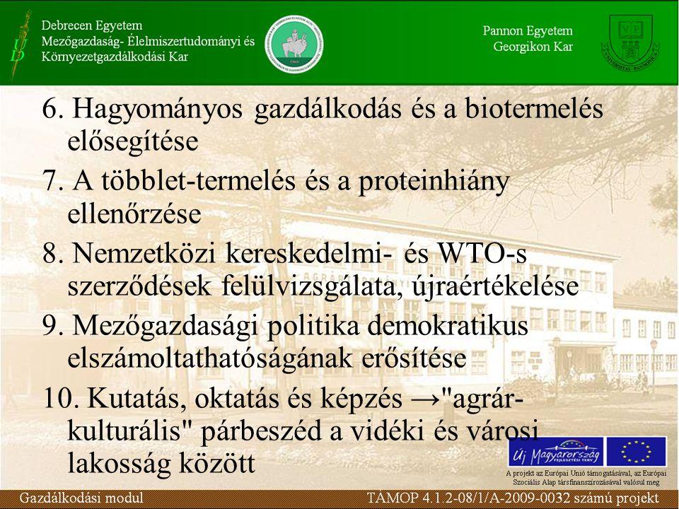 6. Hagyományos gazdálkodás és a biotermelés elősegítése 7.