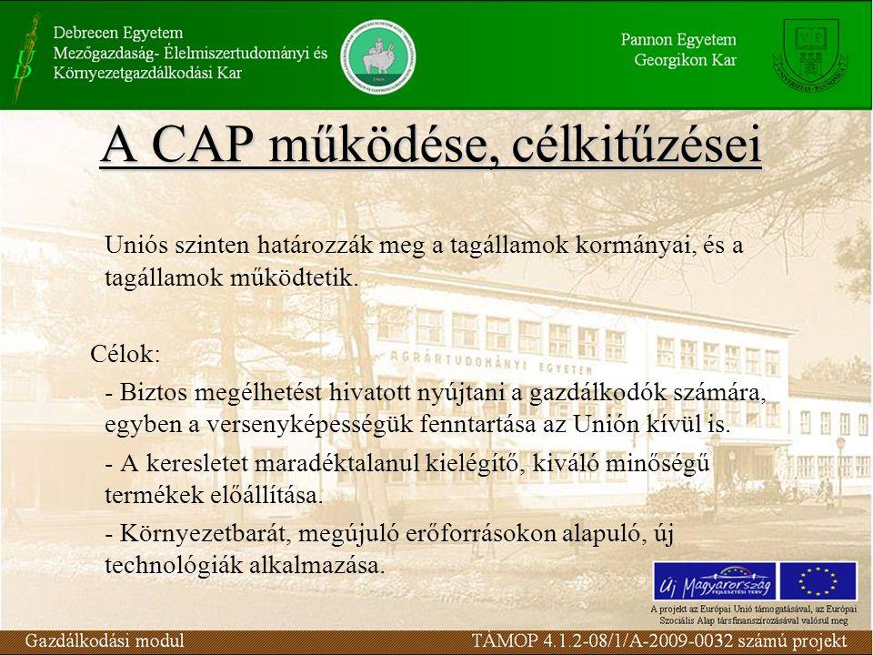 A CAP működése, célkitűzései Uniós szinten határozzák meg a tagállamok kormányai, és a tagállamok működtetik.
