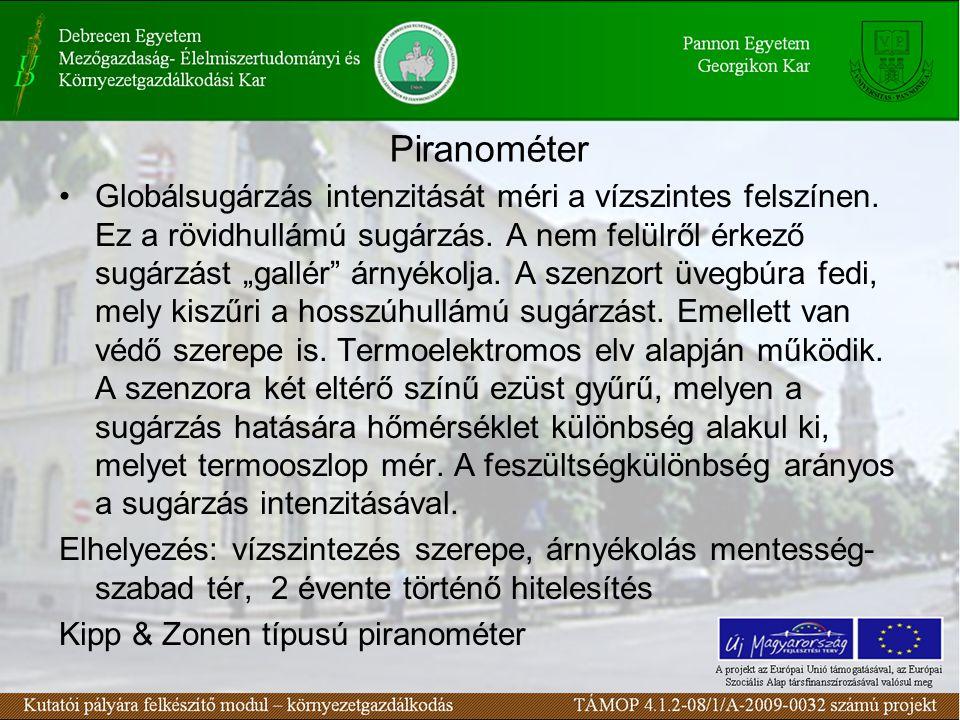 """Piranométer Globálsugárzás intenzitását méri a vízszintes felszínen. Ez a rövidhullámú sugárzás. A nem felülről érkező sugárzást """"gallér"""" árnyékolja."""