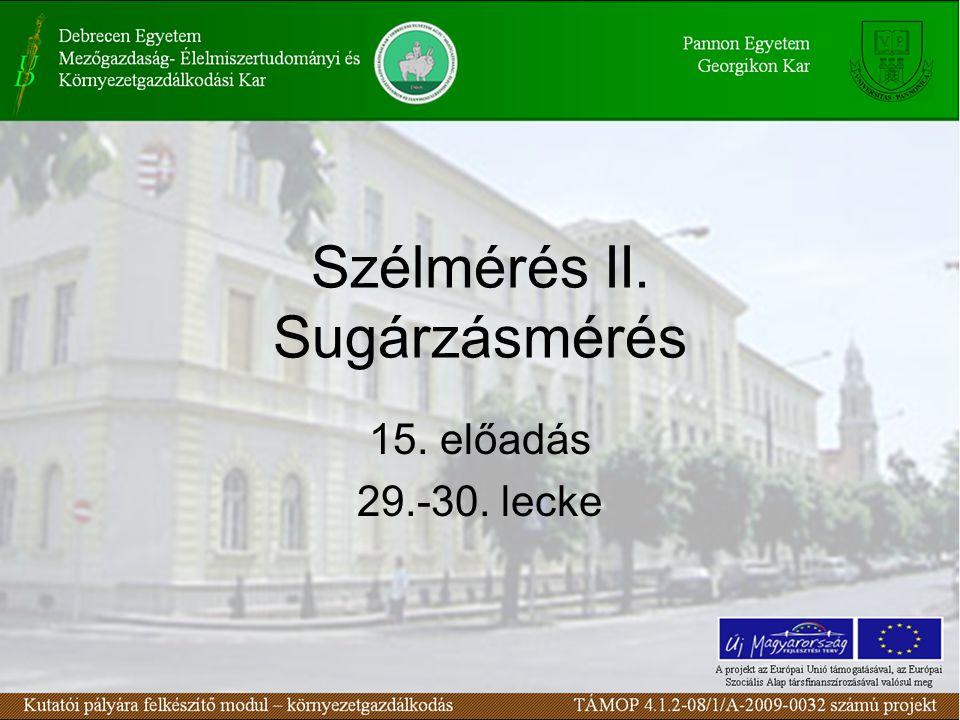 Szélmérés II. Sugárzásmérés 15. előadás 29.-30. lecke
