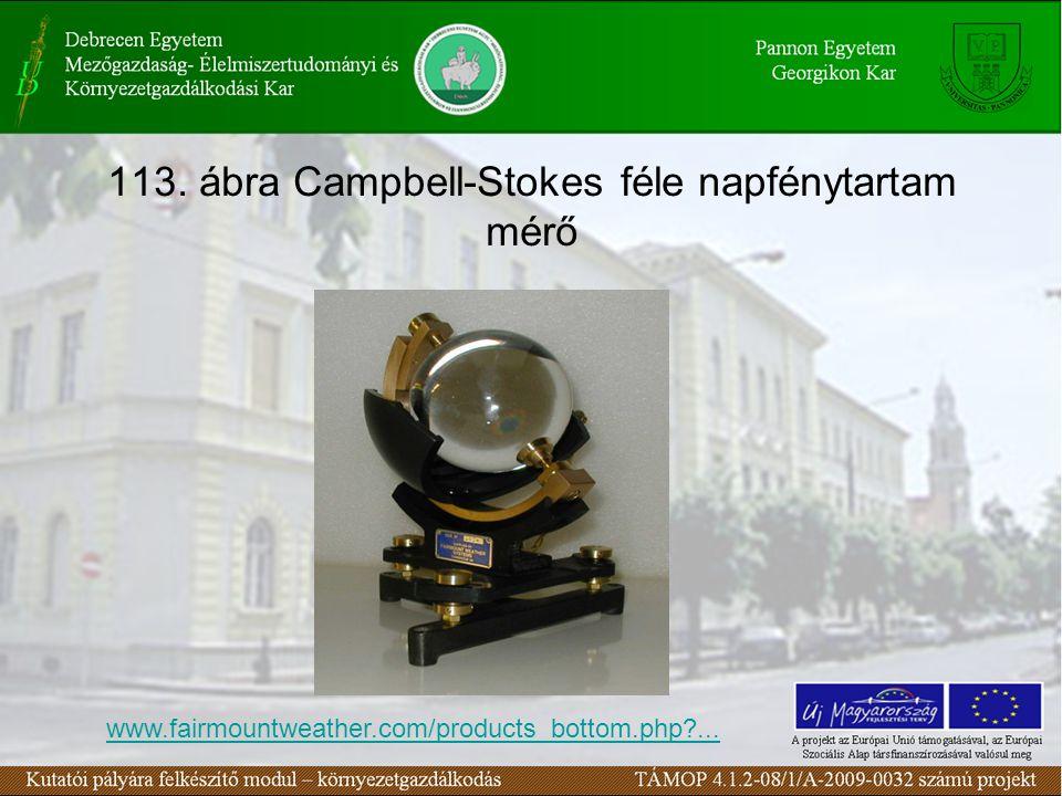 113. ábra Campbell-Stokes féle napfénytartam mérő www.fairmountweather.com/products_bottom.php?...